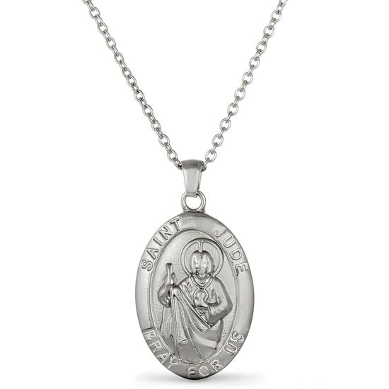 Imagen de Silver-Tone Stainless Steel Oval Religious Disk Pendant Chain Necklace