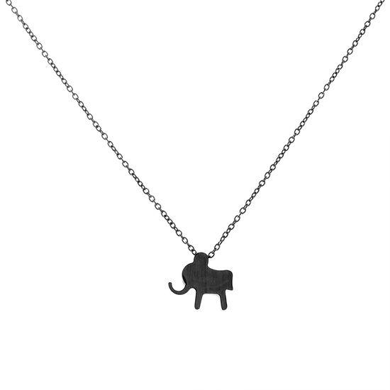 Imagen de Black Elephant Slider Necklace in Black IP Stainless