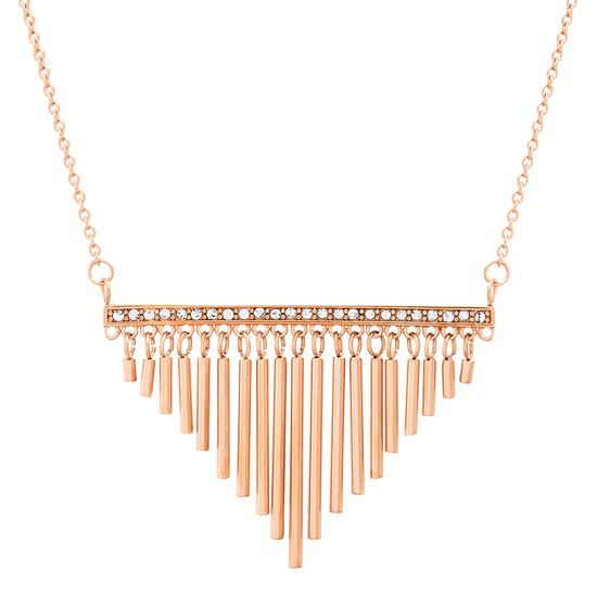 Imagen de Rose-Tone Stainless Steel Cubic Zirconia Bar Pendant with Dangling Bar Fringe 26+2 Cable Chain Necklace