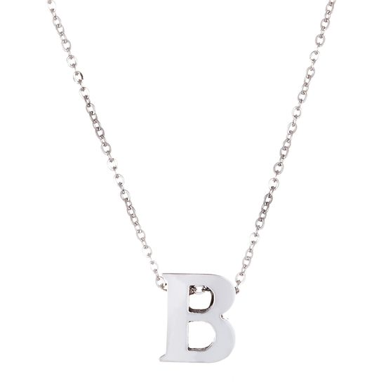 Imagen de Silver-Tone Stainless Steel Initial B Cable Chain Necklace