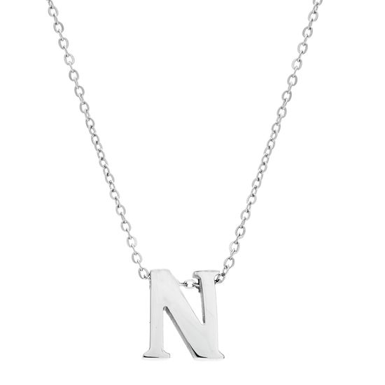 Imagen de Silver-Tone Stainless Steel Initial N Cable Chain Necklace