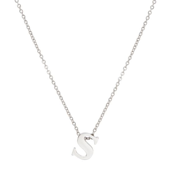 Imagen de Silver-Tone Stainless Steel Letter S Pendant Cable Chain Necklace