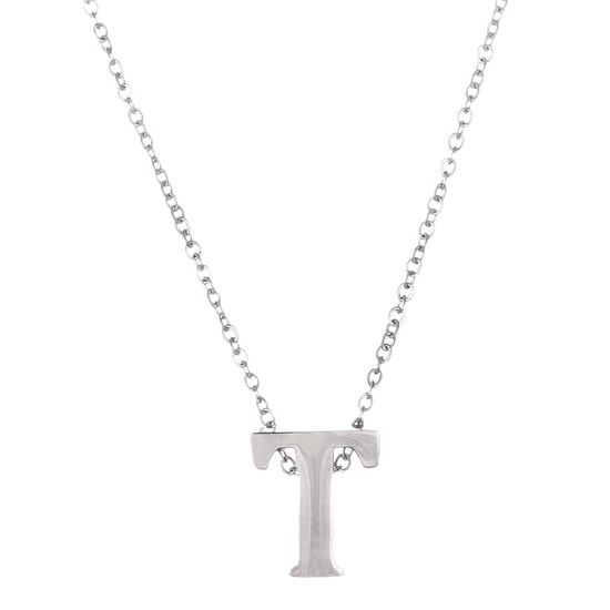 Imagen de Silver-Tone Stainless Steel Initial T Cable Chain Necklace