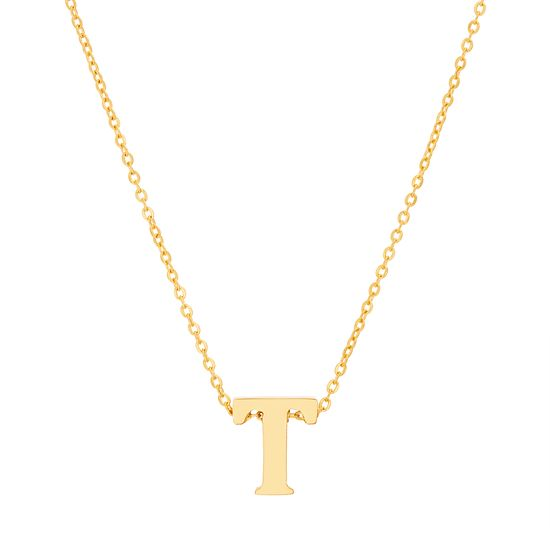 Imagen de Gold-Tone Stainless Steel T Initial Cable Chain Necklace
