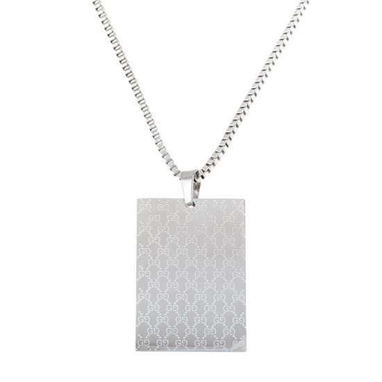 Imagen de Silver-Tone Stainless Steel Textured Rectangle ID Plate Pendant 20 Box Chain Necklace