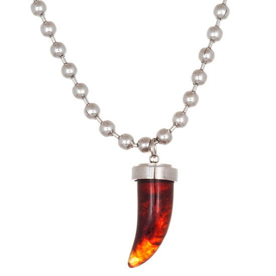 Imagen de Silver-Tone Stainless Steel Tortoise Shell Horn Pendant 16+2 Beaded Chain Necklace