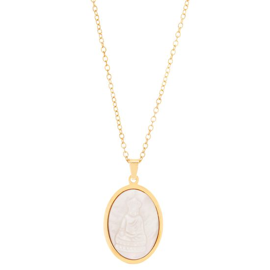 Imagen de Gold-Tone Stainless Steel Oval Freshwater Pearl Religious Disc Pendant 16 Cable Chain Necklace