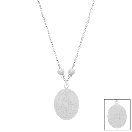 Imagen de Silver-Tone Stainless Steel Oval Religious Disc Pendant 14 Cable Chain Necklace