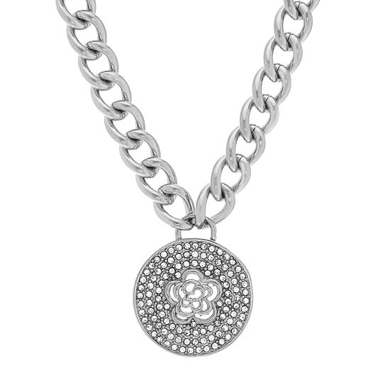 Imagen de Silver-Tone Stainless Steel Flower Crystal Border Pendant Curb Chain Necklace