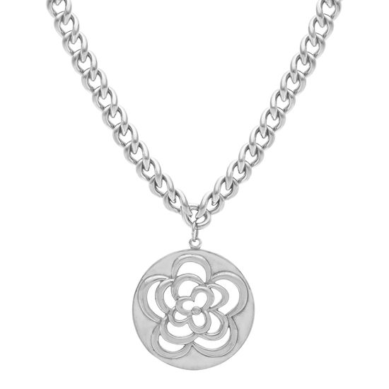 Imagen de Silver-Tone Stainless Steel Filigree Flower Charm 18+3 Curb Chain Necklace