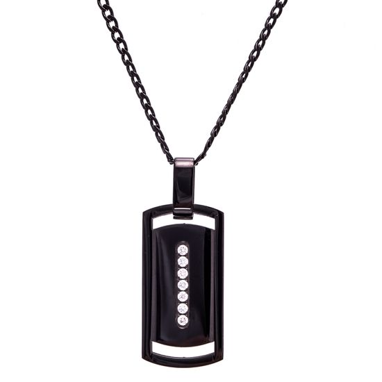 Imagen de Black-Tone Stainless Steel Cubic Zirconia Bar Dog Tag on 24 Necklace