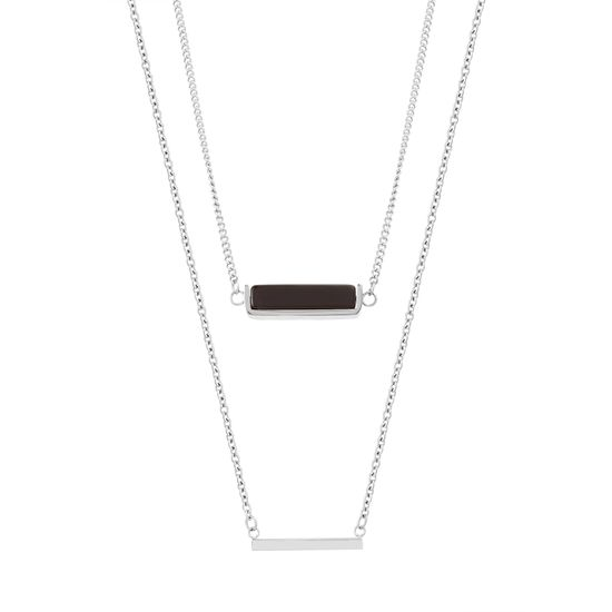 Imagen de STAINLESS STEEL DOUBLE-LAYERED POLISHED BAR & BLACK MARBLE STONE STATION ON 18/22 +2 CABLE CHAIN NECKLACE