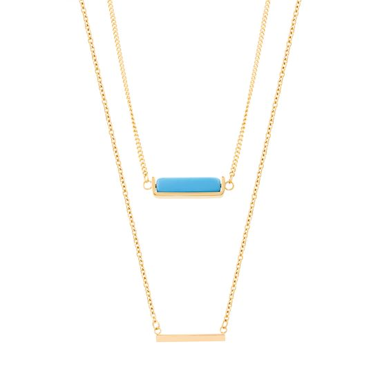 Picture of STAINLESS STEEL GOLD IP DOUBLE-LAYERED POLISHED BAR & TURQUOISE MARBLE STONE STATION ON 18/22 +2 CABLE CHAIN NECKLACE