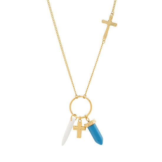 Imagen de STAINLESS STEEL GOLD IP CROSS STATION RING W/TURQUOISE STONE& MARBLE SPIKE ON 16 +2 CABLE CHAIN NECKLACE