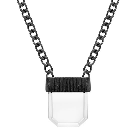 Imagen de Black-Tone Stainless Steel Clear Geo Stone Pendant 24 Curb Chain Necklace