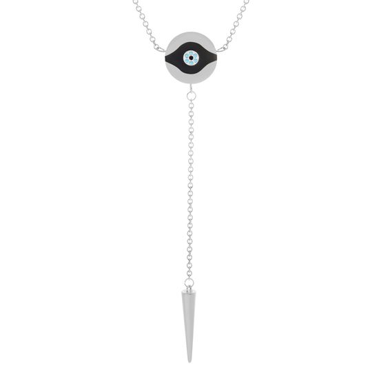 Imagen de Evil Eye Station Dangling Spike Charm on Cable Chain Necklace in Stainless Steel