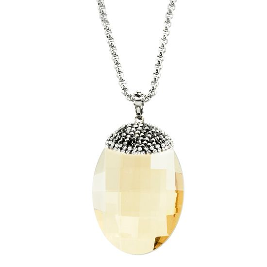 Imagen de Silver-Tone Stainless Steel Cubic Zirconia Faceted Champaign Teardrop Box Chain Necklace