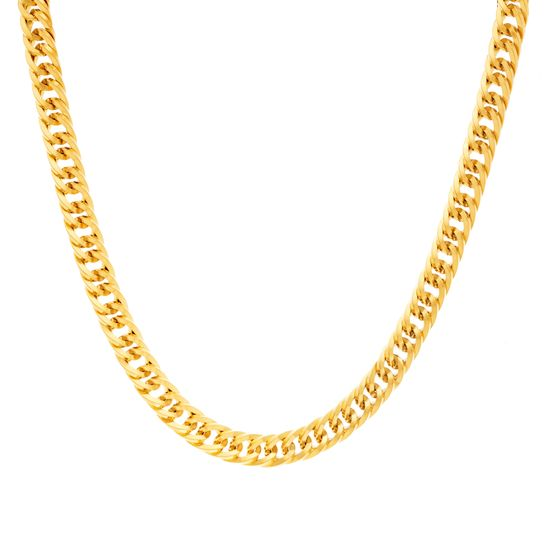 Imagen de 16 Thick Round Curb Chain Necklace in Gold IP Stainless Steel