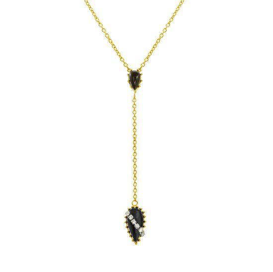 Imagen de Gold-Tone Stainless Steel Cubic Zirconia Black Tear Drop Stone Y Chain Design Necklace