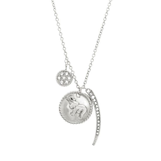 Imagen de Silver-Tone Stainless Steel Cubic Zirconia Bar Disc Elephant Charm Necklace