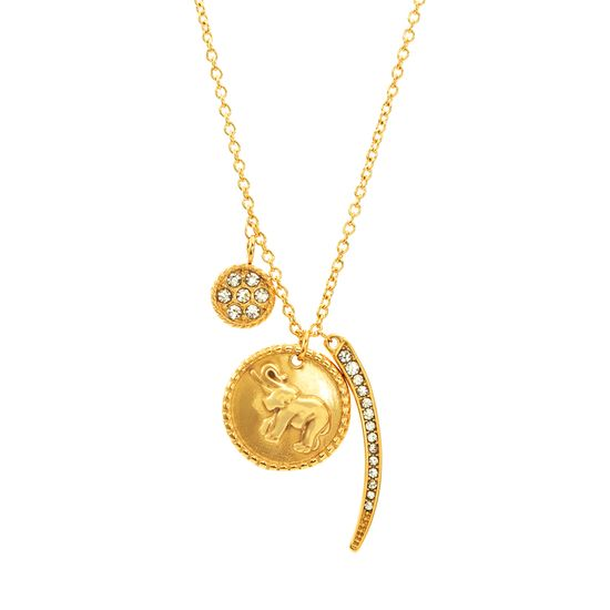 Imagen de Gold-Tone Stainless Steel Cubic Zirconia Bar Disc Elephant Charm Necklace