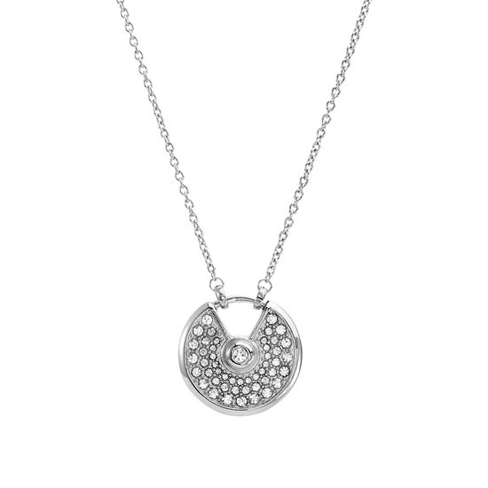 Imagen de Silver-Tone Stainless Bezel Center White Cubic Zirconia and Round Open Design Ring Necklace