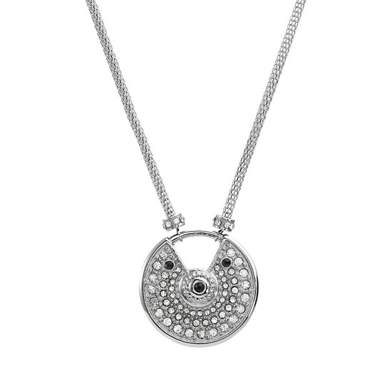 Picture of Silver-Tone Stainless Bezel Black and White Cubic Zirconia and Round Open Design Ring Necklace