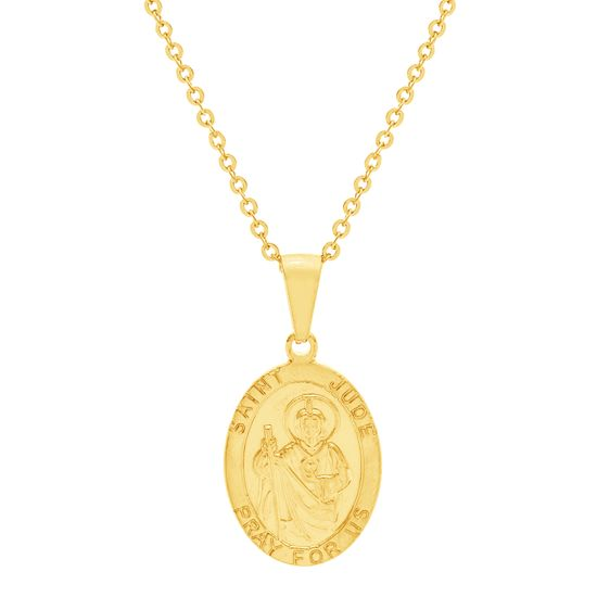Imagen de Gold-Tone Stainless Steel Oval Religious Disc Necklace