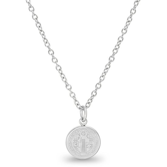 Imagen de Silver-Tone Stainless Steel Religious Circle Pendant Cable Chain Necklace