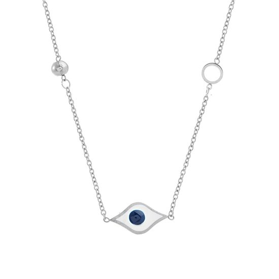 Imagen de STAINLESS STEEL ENAMEL EVIL EYE & CRYSTAL STATIONS 16+2 CABLE CHAIN NECKLACE