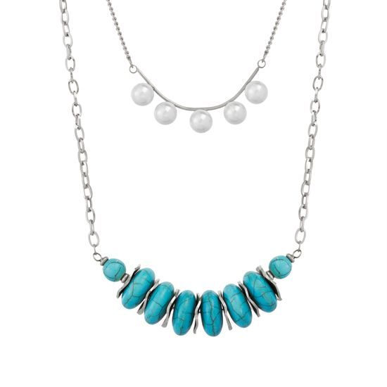Imagen de Silver-Tone Stainless Steel Turquoise Beads Freshwater Pearl Double Layered Cable and Rolo Chain Necklace
