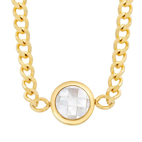 Imagen de STAINLESS STEEL GOLD IP CHECKERBOARD MOTHER OF PEARL 20+1 CURB CHAIN NECKLACE