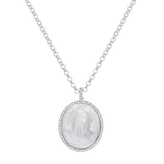 Imagen de Silver-Tone Stainless Steel Cubic Zirconia Border 39mm Oval Freshwater Pearl Virgin Mary Pendant 16+2 Rolo Chain Necklace