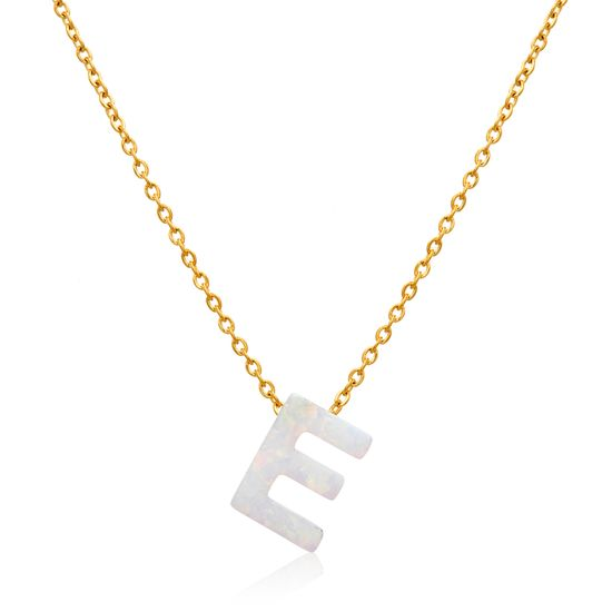 Imagen de Gold-Tone Stainless Steel Opal E Pendant Cable Chain Necklace