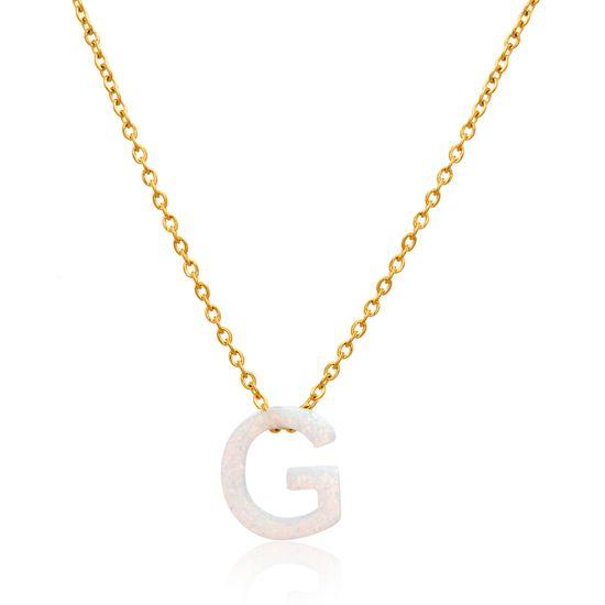 Imagen de Gold-Tone Stainless Steel Opal G Pendant Cable Chain Necklace