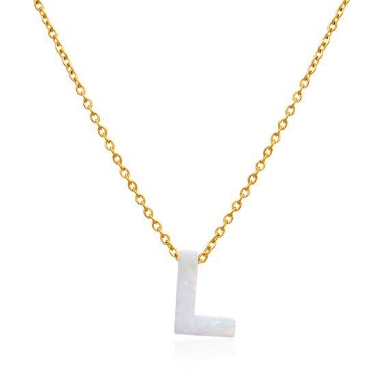 Picture of Gold-Tone Stainless Steel Opal L Pendant Cable Chain Necklace