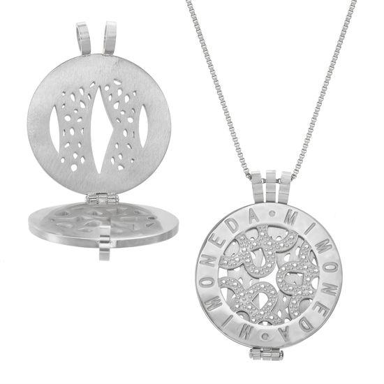 Imagen de Silver-Tone Stainless Steel Round Mi Moneda Disc Pendant 30 Box Chain Necklace