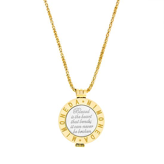 Imagen de Gold-Tone Stainless Steel Round Inspirational Mi Moneda Pendant 18 Popcorn Chain Necklace