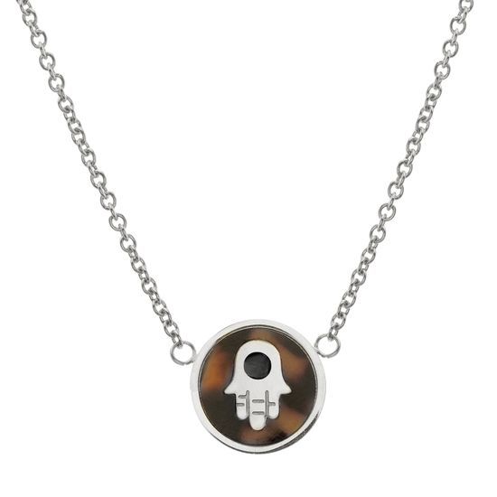 Imagen de Silver-Tone Stainless Steel Tortoise Disk with Hamsa Hand Chain Necklace