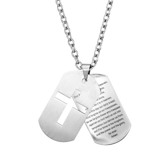 Picture of STAINLESS STEEL PRAYER & CROSS DOG TAG 21 ROLO CHAIN NECKLACE
