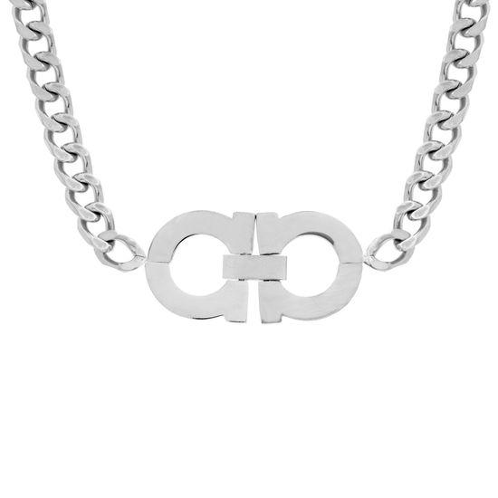 Imagen de Silver-Tone Stainless Steel Interlocking Design 17 Curb Chain Necklace
