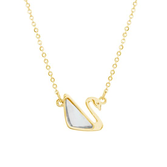 Imagen de Gold-Tone Stainless Steel Mother of Pearl Swan Pendant 18 Rolo Chain Necklace