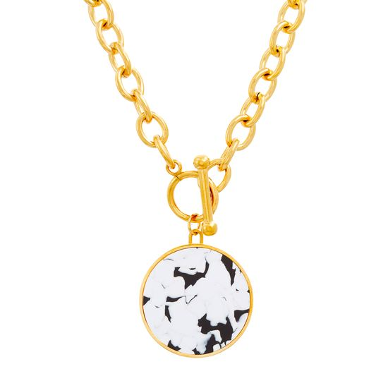 Imagen de Gold-Tone Stainless Steel Round Tortoise Shell Charm 16 Cable Chain Necklace