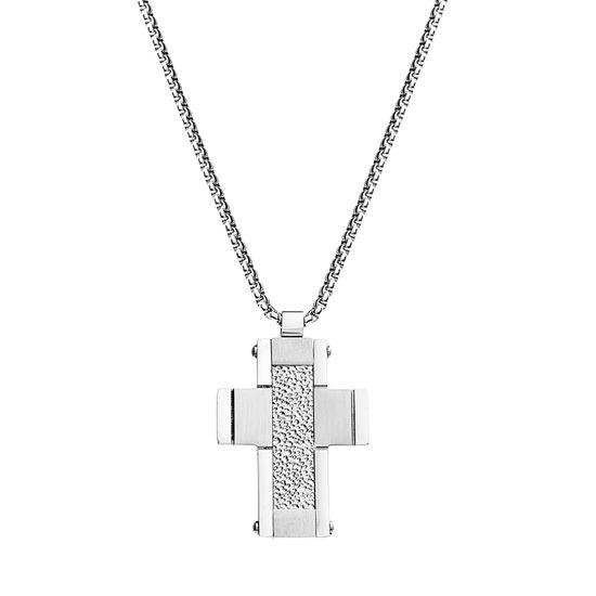Imagen de Silver-Tone Stainless Steel Men's Hammered Textured Cross Pendant Box Chain Necklace