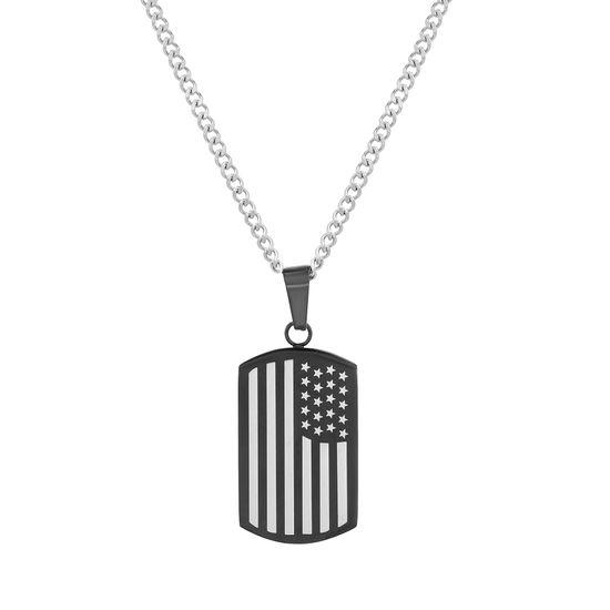 Imagen de Black-Tone Stainless Steel Men's American Flag/Prayer Dog Tag Pendant 22 Curb Chain Necklace