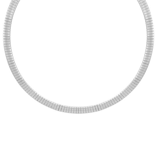 Picture of Silver-Tone Stainless Steel Flat Snake Chain Collar Necklace