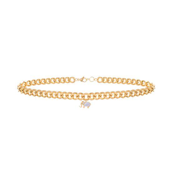 Imagen de Gold-Tone Stainless Steel Elephant Pendant Curb Chain Choker Necklace