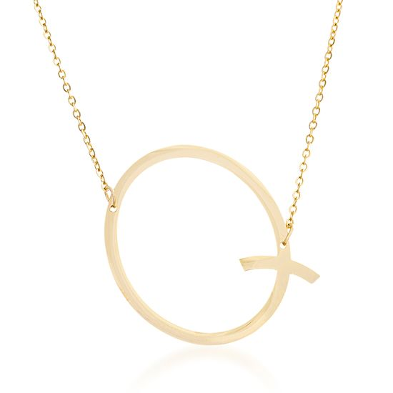 Imagen de Gold-Tone Stainless Steel Q Initial Cable Chain Necklace