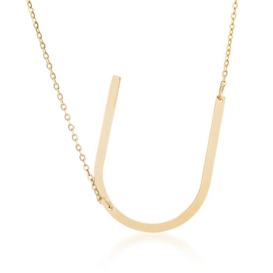 Imagen de Gold-Tone Stainless Steel U Initial Cable Chain Necklace