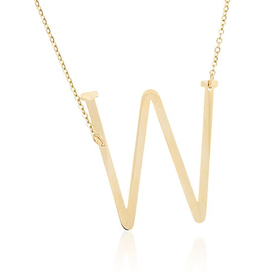 Imagen de Gold-Tone Stainless Steel W Initial Cable Chain Necklace